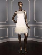 Nha Khanh Jaslene Aline Ivory Sleeveless Scoop Neckline Satin Mini Wedding Dress