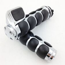 "Rubber Hand Grips 1"" Pair for Harley Davidson Softail Fat Boy FLSTF Chrome"