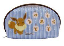 Pokemon  Eevee Evoli cosmetics Pouch stripe Blue.From japan