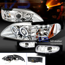 94-98 Ford Mustang Chrome LED Halo Projector Headlights+Clear Bumper Fog Lamps