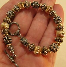 Bali Beaded Bracelet Handcraft Gold-Tone & Silver-Tone Toggle Bee Accent 7.5""