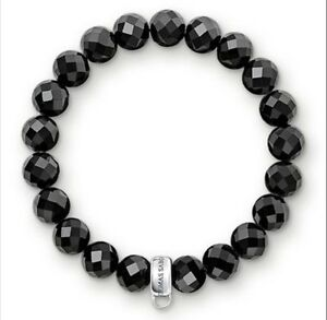 NEW Thomas Sabo Faceted Obsidian Beads Elasticated Bracelet Small X0190 £29.95