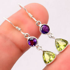 Natural Peridot and Amethyst 925 Sterling Silver Earrings Jewelry 0695