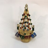 "Vintage RARE Signed ""Warner"" Gold-tone & Rhinestone Christmas Tree Brooch/Pin"