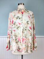 Size Small S J Jill Silk Cotton Blend Floral Button Down Up Top Shirt Blouse NWT