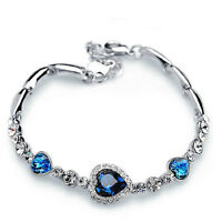 Women Fashion Blue Crystal Cute Rhinestone Heart Charm Bangle Bracelet Gift