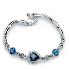 Fashion Blue Crystal Cute Women Rhinestone Heart Charm Bangle Bracelet Gift