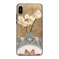 Chinese Style Embossed Lotus Phone Case Soft Cover for iPhone 11 12 X XR XS 7 8