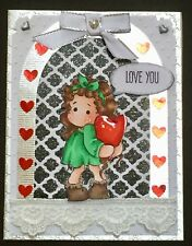 Any Occasion - Love You - Magnolia Tilda with Heart - Handmade card - BY DEE