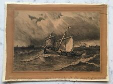 ANTIQUE STEEL ENGRAVING PRINT RK THOMAS FISHING BOATS OFF THE COAST OF HOLLAND