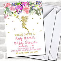 Floral Gold Fairy Invitations Baby Shower Invitations