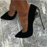 Womens High Heels Stiletto Shoes Faux Suede Pumps Pointy Toe Slip on Club Sandal