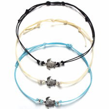 3pcs Alloy Plated Women Turtle Pendant Bracelet Leather Foot Chain Anklet