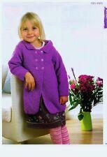 knitting pattern for girls coat size age 1 /4 years aran yarn