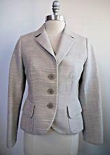 AKRIS Punto light gray off-white textured button front jacket blazer 4 WORN ONCE