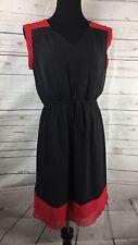 Enfocus Colorblock Chiffon Dress Black Red Tie Front Womens 12 Career Cap Sleeve