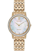 Ladies Citizen Eco-Drive Rose Gold Stainless Dial Swarovski Watch EX1483-50D