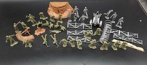 Vintage Marx WW2 Battleground Playset Lot Soldiers ~Guns~Parts~Accessories