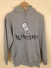 VTG '03 The Simpsons Hoodie Sweatshirt Bart Graffiti 'Represent' Mens Size Large