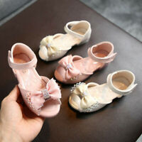Toddler Infant Kids Baby Girls Bowknot Party Princess Leather Shoes Sandals