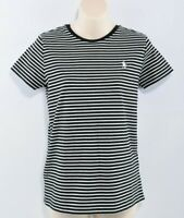 POLO RALPH LAUREN Women's Classic Striped T-shirt Top, Black/White size S