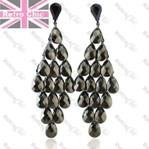 FACETED hematite LONG CHANDELIER EARRINGS gunmetal black BIG large SHINY grey
