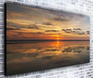 Setting Sun on Ocean Wall Décor Panoramic Canvas Wall Art Print Framed XXL 55 in