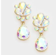 """1.7"""" Long AB Clear Dangle Austrian Crystal Gold Pageant Bridal Earrings Formal"""