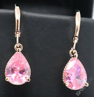 Sparkling Pink Pear Sapphire Earring Drop Women Jewelry 14K Rose Gold Plated