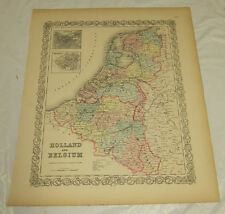 1855 Large COLOR Colton Map  ///  HOLLAND AND BELGIUM