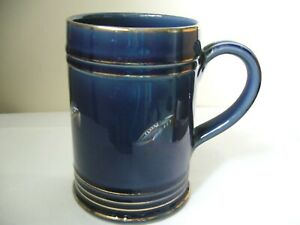 DENBY BLUE TANKARD MUG DECORATED WITH FISHING FLIES USED CONDITION