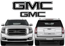 Gloss Black Front & Rear Emblem Vinyl Overlays CUT TO FIT For GMC Trucks New USA