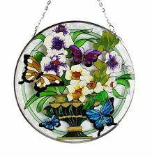 "Suncatcher Vase and Butterfly Design 6"" round"