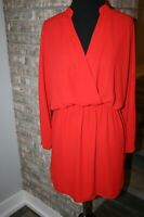 Eight Sixty Women's Red Blouson Crepe Surplice Faux Wrap Dress SZ M