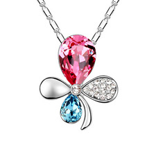 NEW Womens Flower Hot Pink Crystal Rhinestone Silver Chain Pendant Necklace HOT