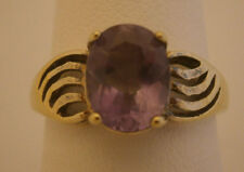 AMETHYST PURPLE SOLITAIRE RING 925 GOLD PLATED PRETTY SWIRLS DAINTY SIZE 6.5