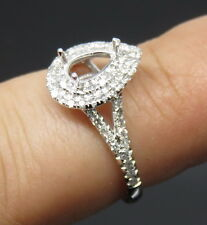 Pear Cut 4×7mm Solid 14K White Gold Natural Diamond Semi Mount Engagement Ring