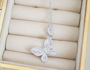 925 Sterling Silver Crystal Shiny Butterfly Necklace Pendant Chain UK Jewellery