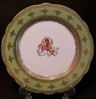 Vintage Austria Handpainted Cherubs Gold Trim Green Rim Salad Plate EXCELLENT