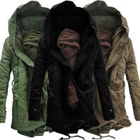 Winter Mens Fur Lined Military Jacket Army Parka Warm Hooded Coat Outwear Trench