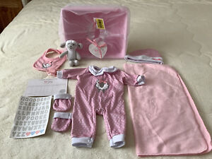Tiny Treasures Dolls Basket With Outfit & Accessories New