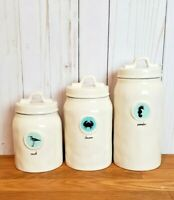 Rae Dunn Magenta Sea Life Canister Set WANDER SEEK DISCOVER Nautical Summer Teal