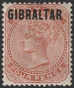 Gibraltar 1886 QV Overprint on Bermuda 4d Orange-Brown Mint SG5 cat £190