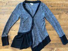 Meadow Rue Anthropologie Womens Medium Asymmetrical Cardigan Sweater Black Gray
