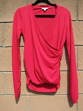 Womens CAbi Crossover Plunge Ruched Red Blouse Top M CAbi # 576 Cranberry Tee