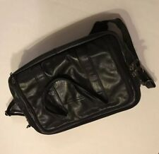 Heritage Leather Computer Laptop Bag Case  Black Briefcase