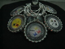 """1"""" Bottle Cap Image Wine Charms ~ Handcrafted ~ **Gift Idea ~ Steelers"""