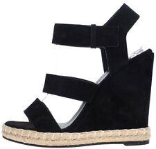 Auth Balenciaga Black Suede Leather Wedge Espadrilles Sandals Shoes 37