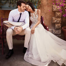 AU Womens Sleeveless Wedding Formal Maxi Dress Bridal Princess Party Ball Gown