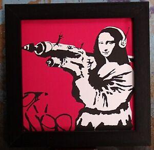 Banksy Art Print on canvas in frame no glass Mona Lisa + Rocket launcher